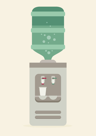 water cooler: Flat vector icon for water cooler. Gray water cooler with blue full bottle and cup.
