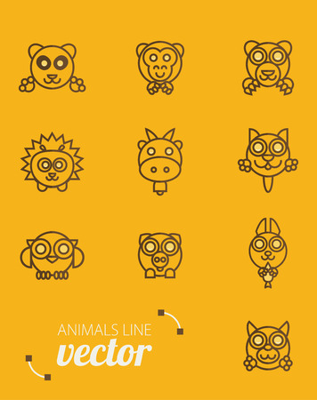 animals outline: Animals outline vector. Flat style.