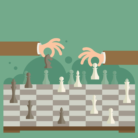 tactic: Flat design modern vector illustration concept of two business people playing chess and try to find strategic position and tactic for long-term success plan or goal.