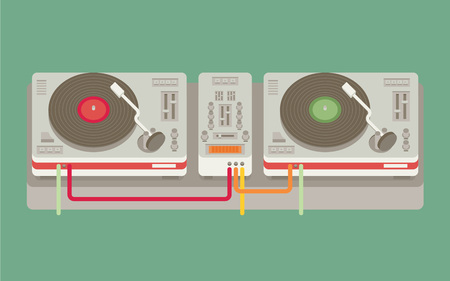 vinyl disk player: Party and sound, musical entertainment. Flat vector illustration