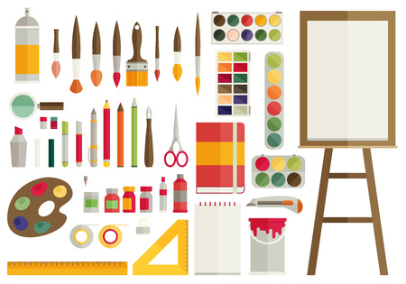 art supplies: flat design vector illustration icons set of art supplies, art instruments for painting, drawing, sketching