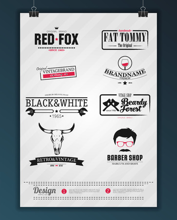 logotypes: Retro Vintage Insignias or Logotypes set. Vector design elements, business signs, identity, labels, badges and objects. Illustration