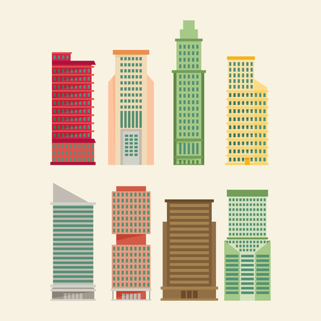 building block: Skyscraper offices flat business buildings set