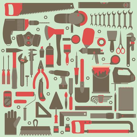 multimeter: Hand tools icon set , flat design , eps10 vector format