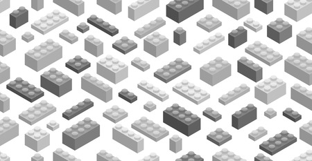 edutainment: Seamless background. Isometric Plastic Building Blocks and Tiles Illustration