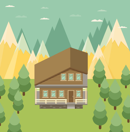 chalet: Chalet, wooden house, eco house, house on the nature - vector flat illustration. Illustration