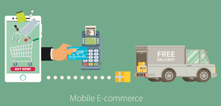 diseño del vector del concepto de comercio electrónico plana.