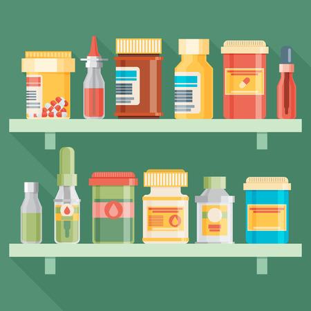 medicine bottles: Medicine bottles set in flat design. Vector illustration