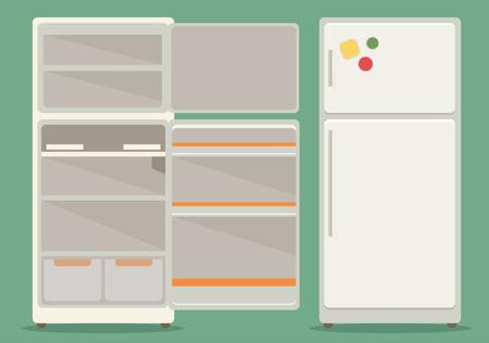 Refrigerator opened. Fridge Open and Closed. Illustration