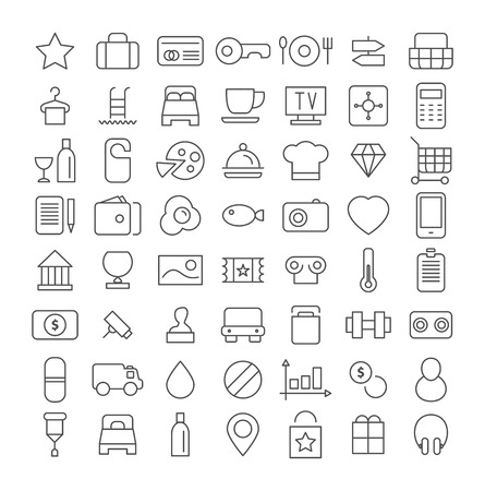 Line icon set. Flat vector.