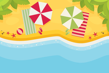 beach ad: Beach flat design background