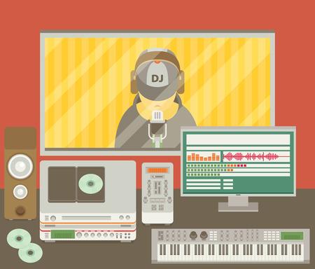 recording studio: Sound recording studio Illustration