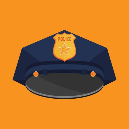cockade: Vector Police Hat flat vector Illustration