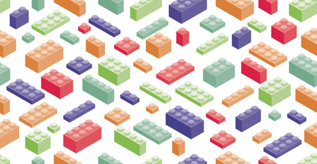 edutainment: Seamless background. Isometric Plastic Building Blocks and Tiles Illustration