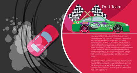 drift: Top view of a drifting car. Drift banner for web. Drift team. Vector illustration.