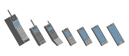 linkage: Cell phone evolution illustration. Flat vector.