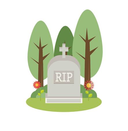 Vector illustration grey gravestone. Flat tombstone icon