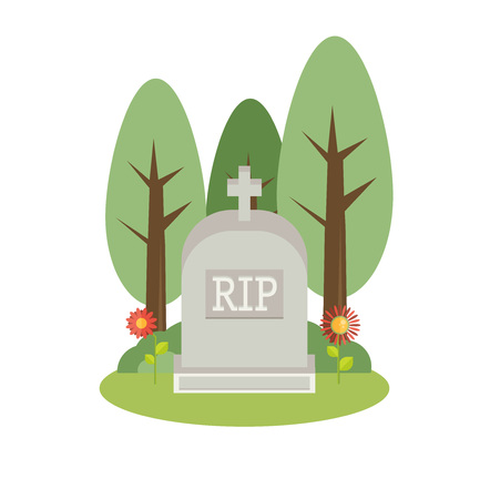 Vector illustration grey gravestone. Flat tombstone icon