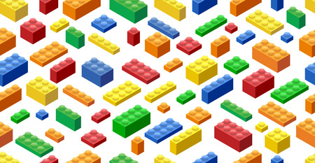 Seamless background. Isometric Plastic Building Blocks and Tiles  イラスト・ベクター素材