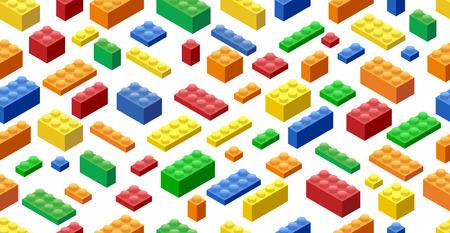 Seamless background. Isometric Plastic Building Blocks and Tiles Illustration