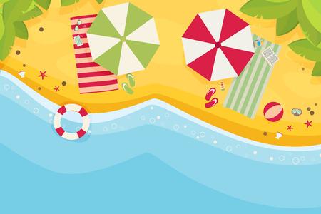 birds eye view: Beach flat design background