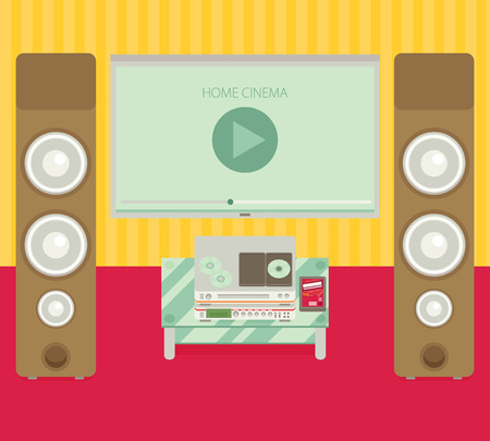 home cinema: Home cinema. Vector illustration. Flat style.