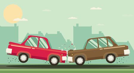 demolishing: Car crash. Two cars hit head-on. Flat design. Illustration