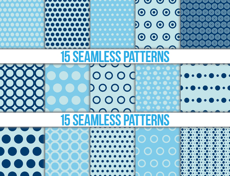 blue background texture: seamless patterns, polka dots set