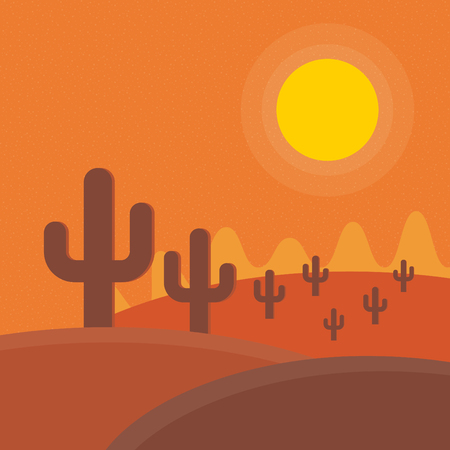 desert sunset: Flat cartoon desert sunset landscape. Background vector illustration.
