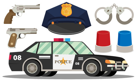 cockade: Police vector icon set- police hat,car,handcuffs, weapons and light