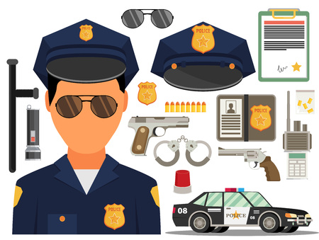 flak: Vector illustration with policeman. Flat style. Elements for infographic. Illustration