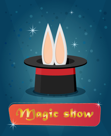 abracadabra: Magic show. Flat style design - vector