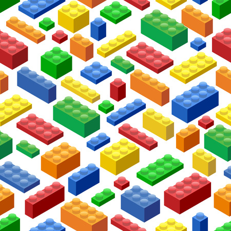 Seamless background. Isometric Plastic Building Blocks and Tiles Illustration