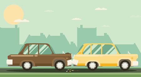 Car crash. Two cars hit. Flat design. Иллюстрация