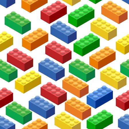 シームレスな背景。等尺性プラスチック ビルディング ブロックとタイル  イラスト・ベクター素材