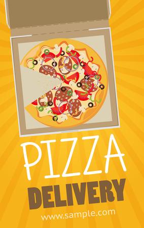 pizza box: caja de pizza vector de banner de publicidad. Pizza de servicio de entrega de la caja. Vectores