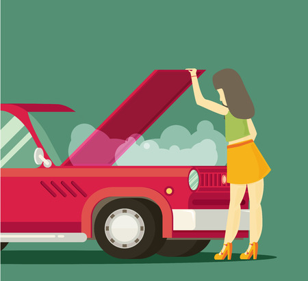 car driver: The girl is looking at broken motor. Flat vector.