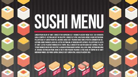 Vector sushi menu template. Flat vector.