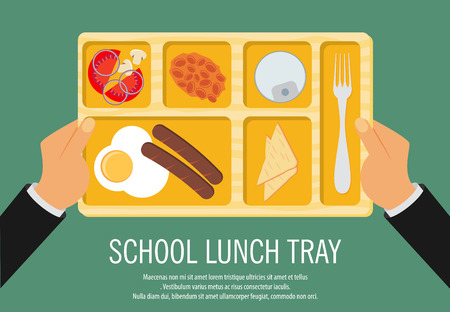 lunch tray: Hand Holding A School Lunch Tray Vector Illustration