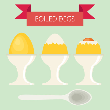 boiled eggs: Vector Breakfast soft Boiled Eggs Illustration, simple flat design with banner and text