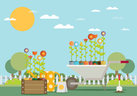 garden flowers: Spring Garden with Wheelbarrow, Watering Can and Flowers. Flat Design Style.