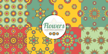 abstract flowers: Abstract flowers vector seamless patterns