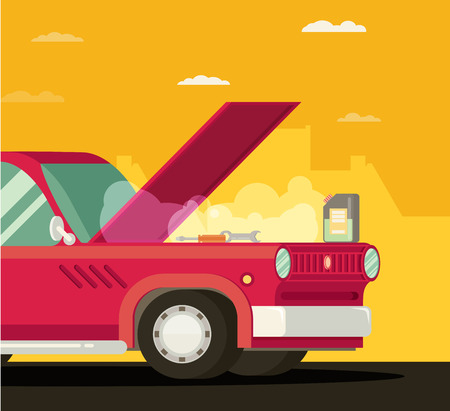 overheat: Broken car. Vector cartoon flat illustration Illustration