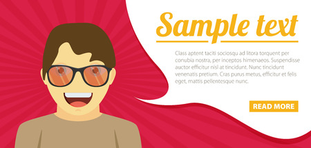 opened mouth: Fun concept. Vector flat design illustration. Horizontal layout with a text space in a right.
