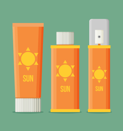 sun protection: Sunscreen Care Sun Protection Cosmetics vector illustration. cream icon set in flat-style isolation