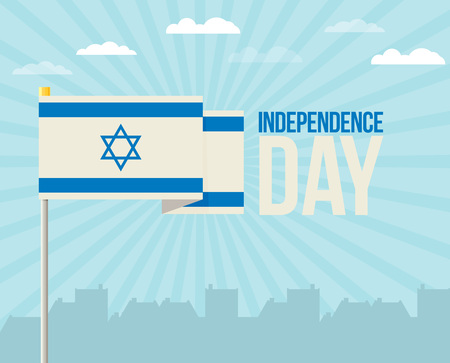 The flat design of the flag on the flagpole. Independence Day. Flag of Israel