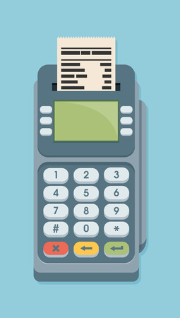 machine a carte bleu Pos Terminal In Flat Style On Blue Background. Payment Terminal