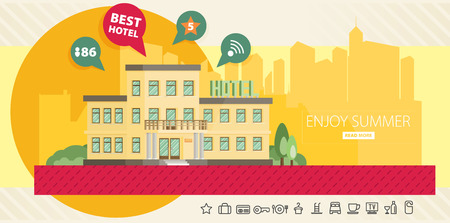choise: Hotel building in summer vacation, best choise. Flat vector.