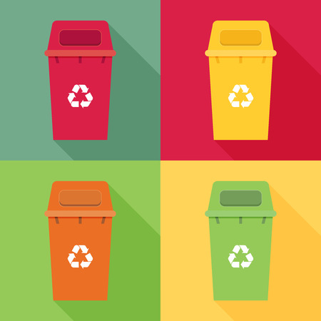 Waste sorting garbage bin set vector. Waste management and recycle concept with waste bin set. Vektorové ilustrace