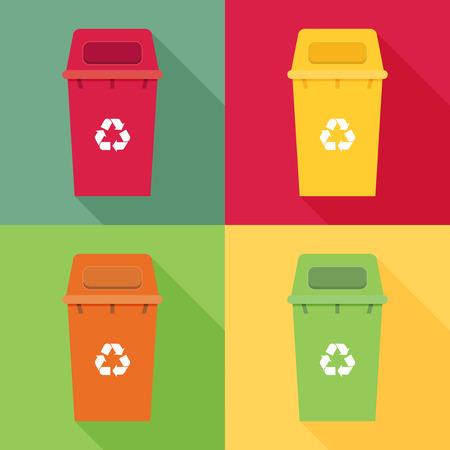 garbage bin: Waste sorting garbage bin set vector. Waste management and recycle concept with waste bin set. Illustration